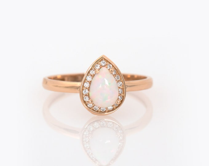 White Opal Ring, Gold Opal Halo Ring, Fire Opal Ring, Pear Opal ring, Australian Opal Ring, Opal Halo Engagement Ring, Solitaire Opal Ring