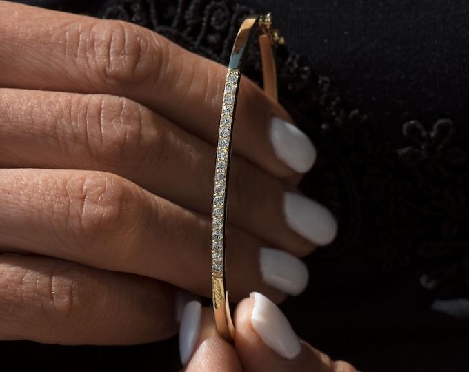 Diamond Gold Bracelet, Gold Dainty Hinged Bracelet, Real Gold Gemstone Bangle, 14k Gold Hinged Bangle, Stacking Gold Thin Gold Bracelet