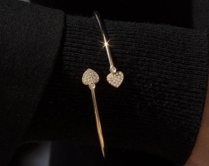 Gold Bangle Heart Bracelet, 14k Real Gold Bangle, Jewelry Gift for Her, Real Gold Bangle, 2 mm Real Gold Bangle, Stacking Bracelet