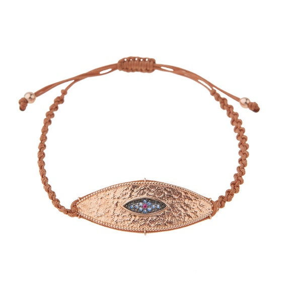 Hammered Rose Gold Evil-eye Macrame Bracelet, Silver Charm Bracelet, Luck symbol for bad eye,Brown cord Evil-eye