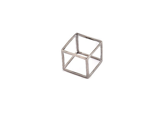 Silver Cube Ring, Geometric Ring, Modern Ring, Minimalist Ring, Cube Ring, Unique Design Ring