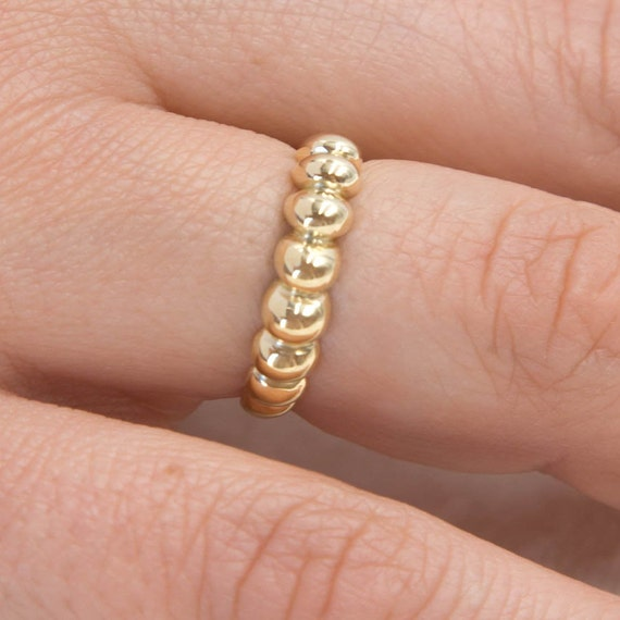 Gold Croissant Ring / 14k Bubble Ring / 14k Solid Gold Ring / Twisted Dome Ring / Chunky Gold Ring / Statement Ring BY AntEvaCrafts