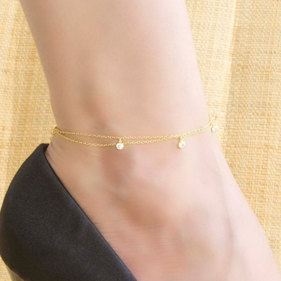 Silver Anklet, Gemstone Anklet, Anklet Bracelet, Double Chain Anklet, Anklet with White cz, Foot Jewelry, Beach Jewelry, Beaded Anklet