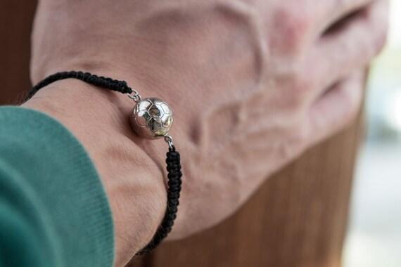 Soccer Ball Bracelet, Soccer Jewelry, Mens Black Macrame, Silver Mens Bracelet, Sports Bracelet, Mens Bracelet