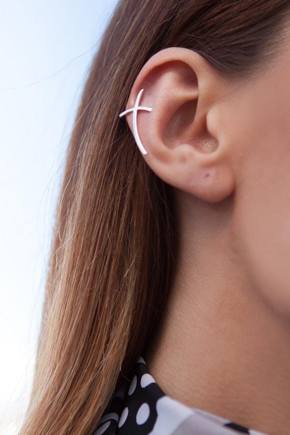 Cross Earrings, Silver Cross Earring, Ear Cuff non pierced, Cross Cartilage Cuff,  Ear Cimber Earrings, Middle Ear Earrings, Silver Earring