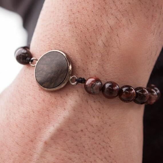 Tiger eye Bracelet, Men Bead Bracelet, Brown Round Charm, Protection Bracelet, Men Good Luck Jewelry, Men Healing Bracelet, Zen Bracelet