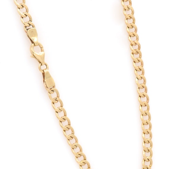Curb Chain Necklace - Gold Curb Necklace - Solid Gold Chain- Cuban Link Chain - Chain Link Necklace - Gold 14k Necklace- Mens Gold Chain