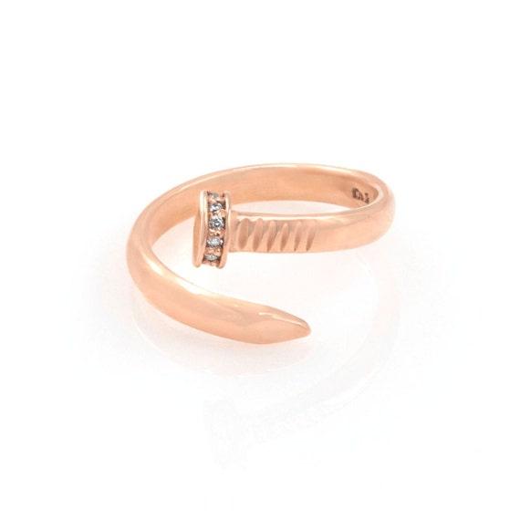 Gold Nail Ring, Gold Open Ring, Solid Gold 14k Nail Ring, Spiral Ring, Wrap Around Ring, Bypass Gold Ring, Dainty Nail Gold Ring