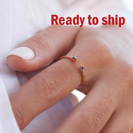 Black Diamonds Ring Double Stone Ring White Diamonds Ring Diamond Stacking Ring Gold Open Ring Cuff Ring Stackable Ring Diamond Ring