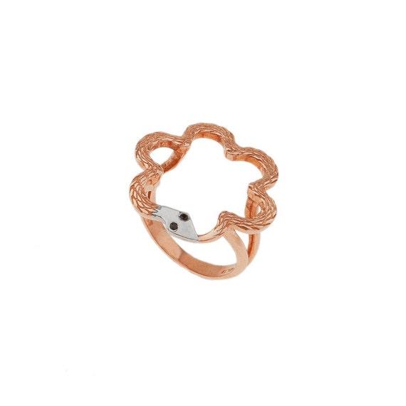 Flower Shape Ring, Ouroboros Ring, Snake Ring, Silver Ouroboros Ring, Serpent Ring, Round Snake Ring