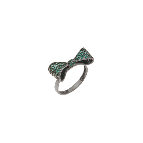 Bow Ring, Silver Bow Ring, Bow tie ring, Silver Ribbon Micro pave ring, Celebrity jewelry, Cute ring