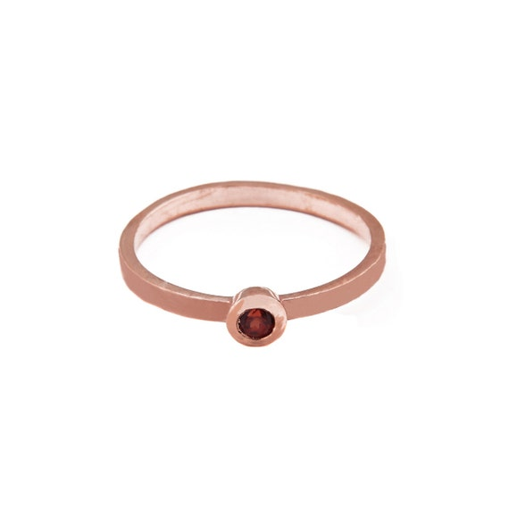 Gold Garnet Ring, Gold Stacking Ring, Genuine Garnet Ring, Gold Bezel Ring, Solid Gold 14 karats, Gold Solitaire Ring