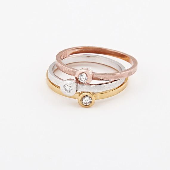 Bezel Ring, Diamond Ring, White Diamond Ring, Diamond Bezel Ring, Gold Stacking Ring, Thin Gold Ring, Diamond 0.05ct, Gold Bezel Ring