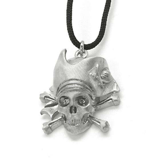 Scull Necklace, Pirate Scull Charm, Carribean Pirate, Pirate jewelry, Jack Sparrows Charm, Mens Necklace, Captain Jack Charm, Biker Pendant
