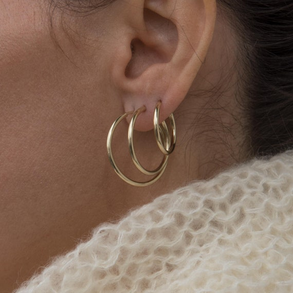 Solid 14K Yellow Gold Mini Hoops  Round Hoop Earrings 14 k Gold Circle Shaped Small Huggie Hoop Earrings Hypoallergenic Gold Earrings