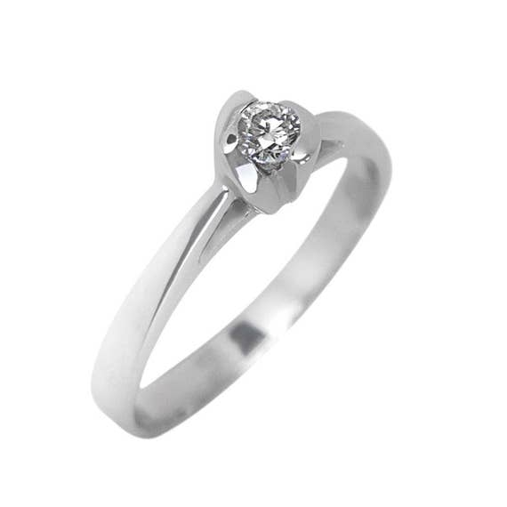 Diamond Solitaire Ring, Diamond Ring, Engagement Ring, Genuine Diamond 0.20ct, Promise Ring, Solitaire Ring, 18 karats White Gold