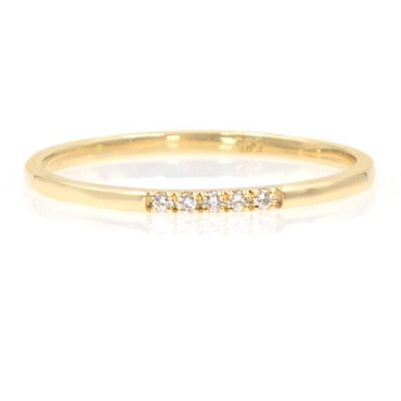 Diamond Thin Band, Thin Diamond Ring, Gold Stacking Ring, Band with Diamonds, Diamond Band, Pave Diamond Band, 1,2 mm Ring