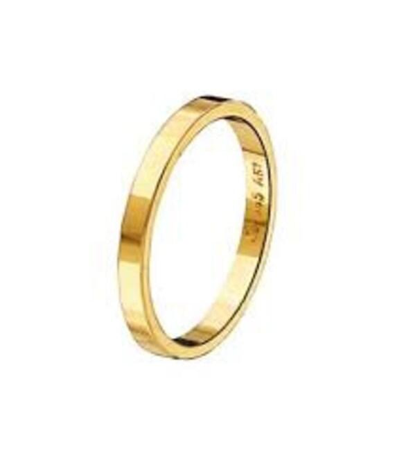 Thin Gold Band, Flat Band Ring, Thin Gold Ring, Solid Gold Band, 2.2 mm Band Ring, Gold Wedding Band, Gold Stacking Ring, Engraved Band