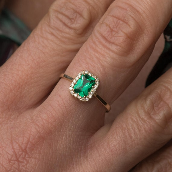 Halo 5x7mm Emerald Cut Lab Created Emerald Ring, Solid Gold 14k Gemstone Ring, Emerald Ring, Engagement Ring, Mother's Day Gifts