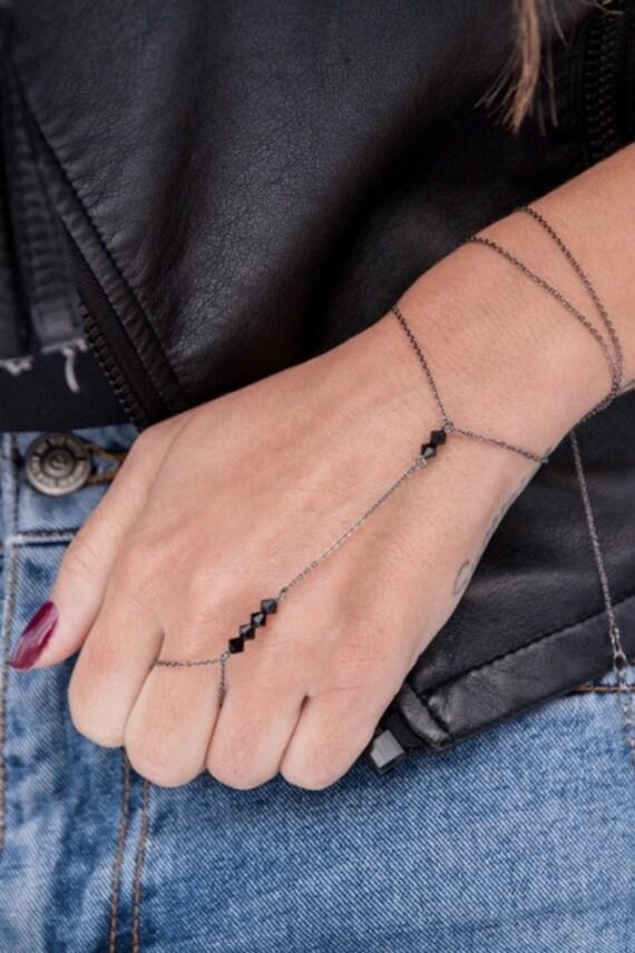 Double Wrap Handchain, Swarovski Ring Bracelet, Swarovski necklace, Cubic zirconia