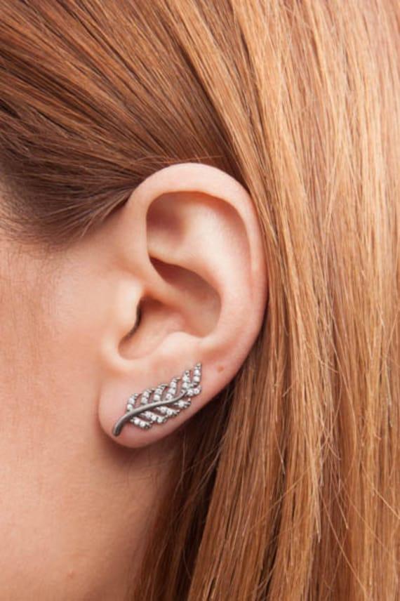 Leaf Earrings, Silver branch earrings, Leaf Ear cuffs, Stud earrings, Ear climbers, Ear pins, Ear Sweep Earrings, Inspiration Jewelry