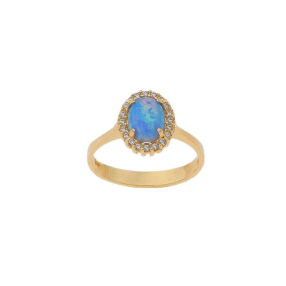 Opal Ring, Gold Opal Ring, Fire Opal Ring, Oval Opal ring, Australian Opal Ring, Blue Opal Ring, Opal Engagement Ring, Opal Halo Ring