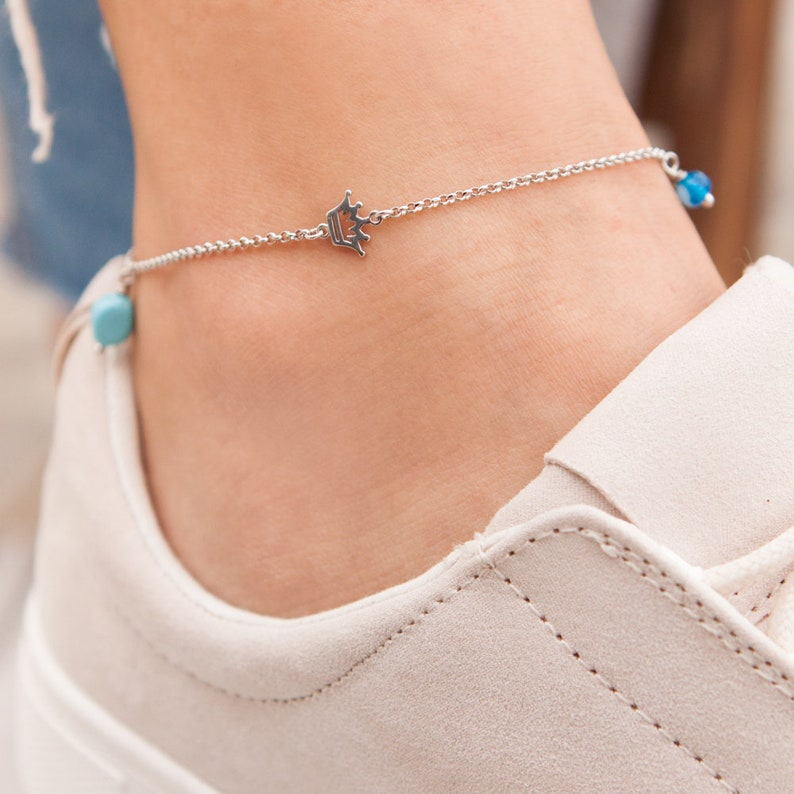 Beach Jewelry Silver Crown Anklet Foot Jewelry Crown Anklet Anklet Bracelet Silver Anklet Sideways Silver Crown Evil-eye Anklet