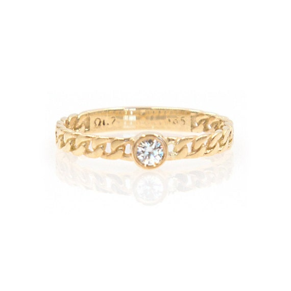 Diamond Ring* Solid 14kGold Ring * Diamond Chain Ring * Dainty Chain Ring * Curb Chain Ring * Gold Ring Chain * Eternity Chain Ring * Ring