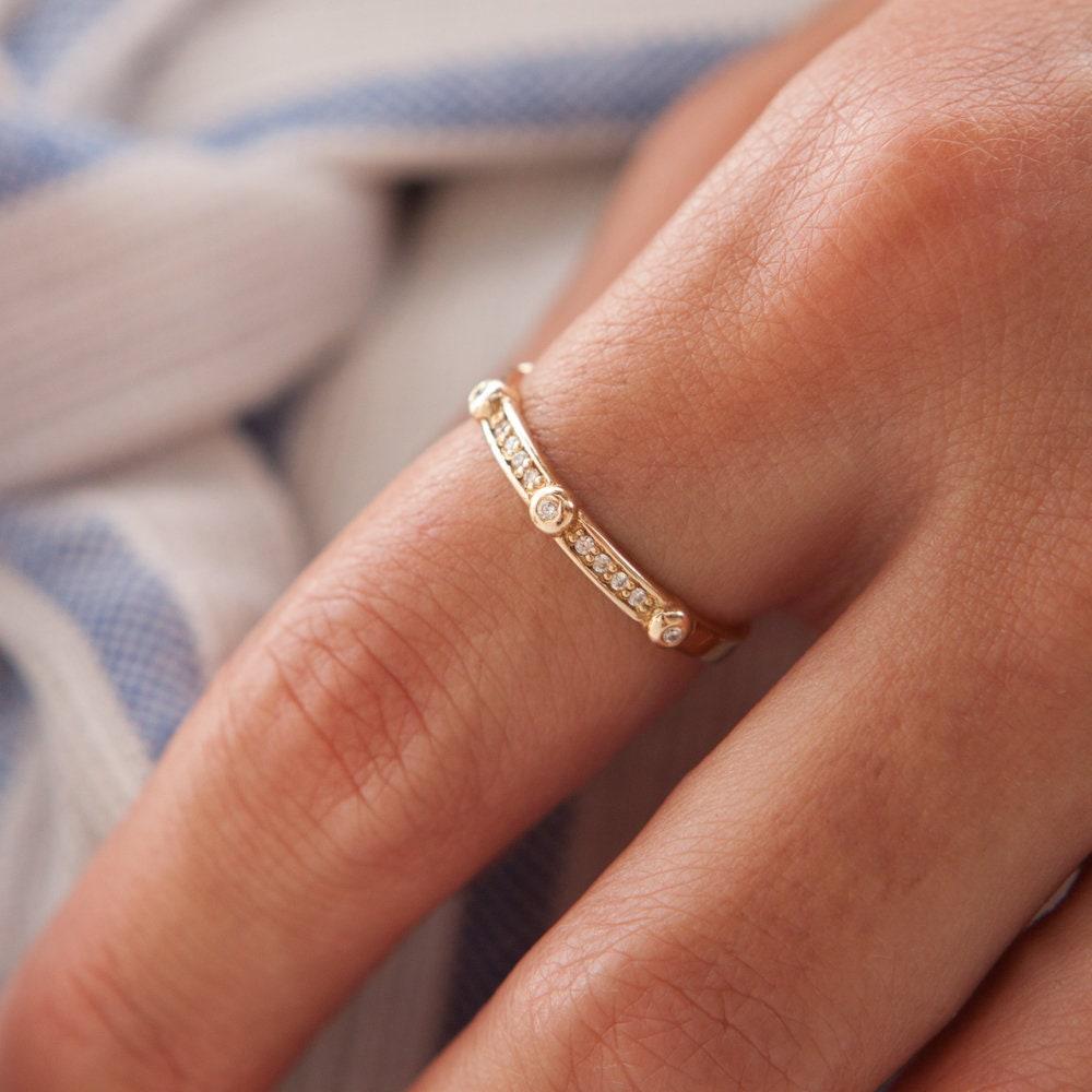 Wedding Band Black Diamond Ring Thin Diamonds ring Half Eternity 9 Diamonds Ring 14K  18K Yellow Gold Stacking Ring Dainty Ring