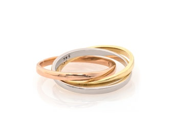Trinity Ring Rolling Ring Wedding Band 14k Solid Gold Tri Color Russian Infinity Interlocked Puzzle Trinity Ring 3 Thin Gold Shiny Bands