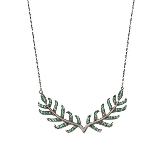 Silver Leaf Necklace, Laurel Wreath, Branch Necklace, Leaf Necklace, Rhinestone Leaf N ecklace, Laurel necklace, Inspiration Necklace