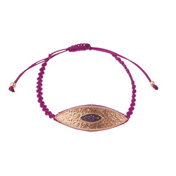 Hammered Evil-eye, Evil-eye Bracelet, Evil-eye Macrame, Purple Cord Bracelet, Luck symbol Bracelet, Silver Evil-eye