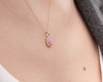 Opal Pendant, Pink Opal Pendant, Opal Pendant Gold, Oval Opal Charm, Birthstone charm, Australian Opal, Opal Halo Pendant, Opal Jewelry
