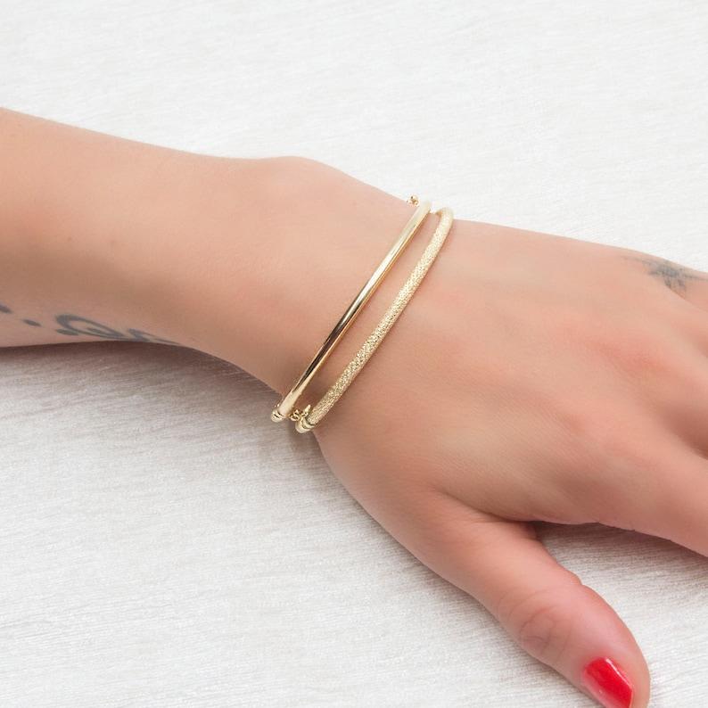 Gold Bangle Bracelet Oval Gold Bracelet Simple Gold Bangle 2 mm Wide Bracelet 14k gold Bangle Stacking Gold Cuff Gold Dainty Bracelet