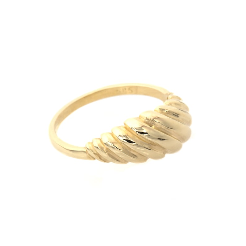 Gold Croissant Ring  Gold Pluto Ring  Chunky Croissant Ring  14k Solid Gold Ring  Twisted Dome Ring  Chunky Gold Ring  Statement Ring