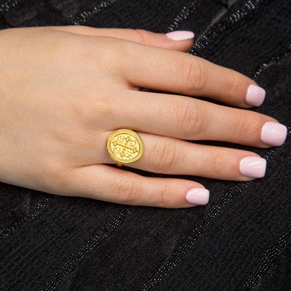 Gold Coin Ring, Christian Ring, Greek Christian Ring, Solid Gold Oval Coin Ring, Byzantine Cross Ring, Orthodox Gold Coin Ring, 14K GoldRing