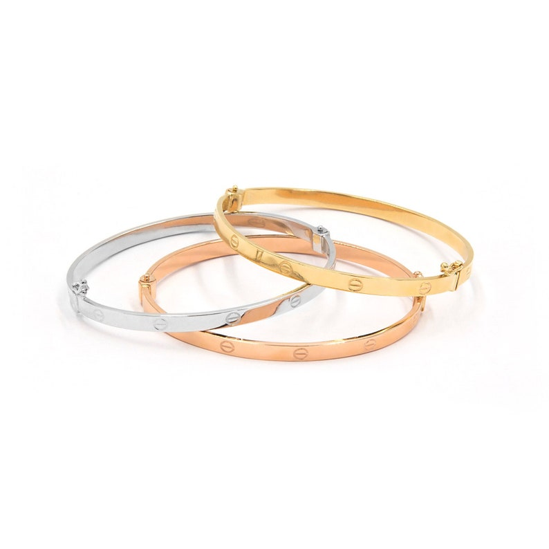 e449c2eff6e40 Gold Bangle Bracelet, Screw Real Gold Bangle, Wide Gold Bangle, 4 mm Gold  Bangle, Cuff Bracelet, Stacking Bracelet