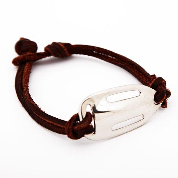 Mens Bracelet, Lifeguard Bracelet, Rescue Bracelet, Mens Jewelry, Leather Bracelet, Mens Silver Bracelet, Mens Leather Bracelet, Mens Gift
