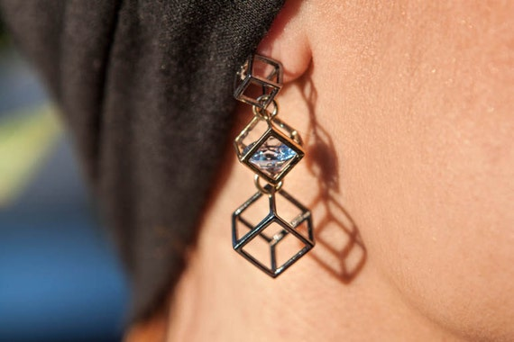 Silver Cube Wire Earrings, Linked Cubes Earrings, Fashion Geometry Earrings