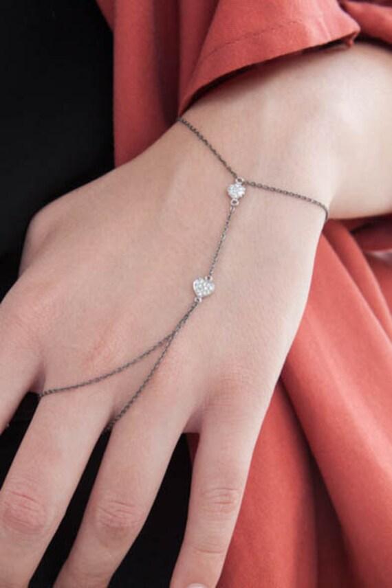Hand Chain Bracelet, Heart Bracelet, Harem bracelet, Double Charm Bracelet, Silver Slave Bracelet, Finger to wrist, Body Jewelry