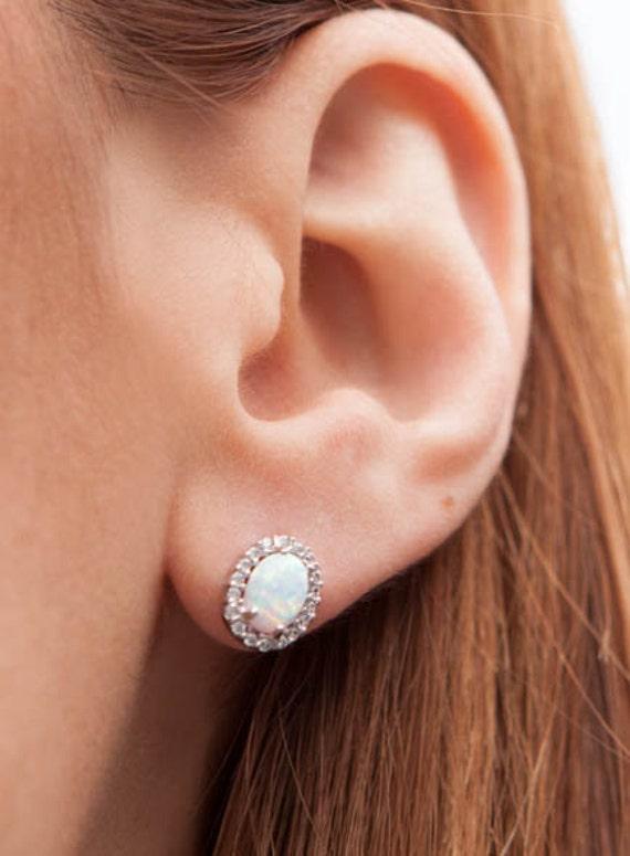 Opal Earrings, Opal Earrings Stud, Opal Earrings Gold, White Opal Earrings, Oval Earrings, Opal Halo Earrings, Post Earrings, Opal Studs