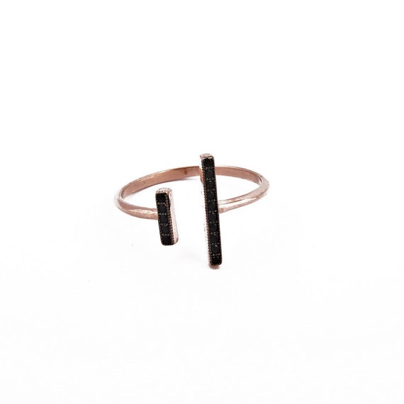 Double Bar Ring, Gold Parallel Bar, Micro Pave Ring, Open Line Ring, Asymmetrical Ring, Gold Open Ring