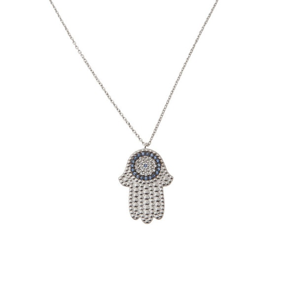 Silver Hand of Fatima, Hamsa Necklace, Evil-Eye Necklace, Hand with eye pendant, Meaningful Necklace, Good Luck Charm, Protection Necklace