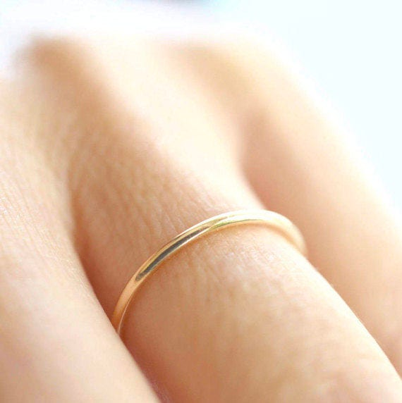 Half Round Ring, Thin Gold Band, Classic Gold Band, Solid Gold Band, Skinny Ring, 1.5 mm Band Ring, Thin Wedding Band,Gold Stacking Ring