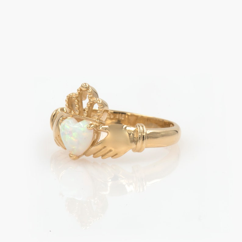 Claddagh Ring Opal Ring Claddagh Gold Ring Celtic Ring image 0