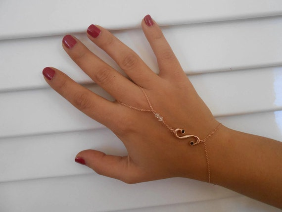 Integral Charm, s-symbol hand chain bracelet, Finger to wrist math-symbol bracelet, Hand flower, Harem Chain bracelet
