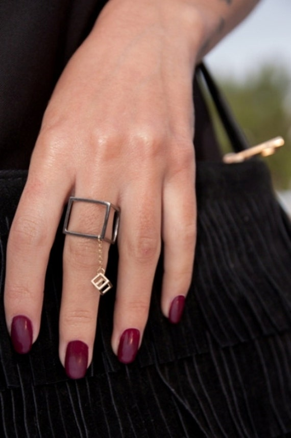 Cube Ring, Silver Cube  Ring, Geometric Ring, Extend Chain Ring