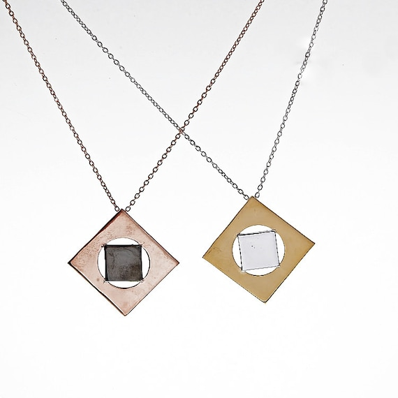 Rhombus Necklace, Silver Rhombus Shaped, Geometric Necklace, Square Silver Necklace