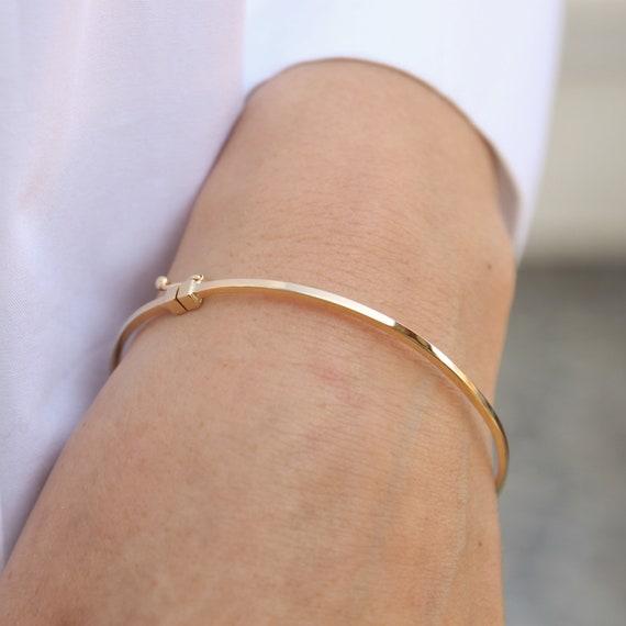 Gold Dainty Bracelet, Plain Gold Bracelet, Gold Bangle Bracelet, Simple Gold Bangle, Stacking Gold Cuff, 2 mm Wide Bracelet, 14k gold Bangle