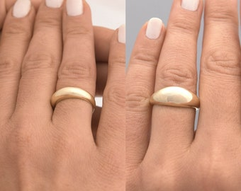14k Gold Dome Ring / Dome Band Ring / Statement Ring / Crescent Dome Ring / Chunky Ring / Large Dome Ring / Solid Gold 14k Band Ring